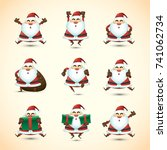 santa character collection with ... | Shutterstock .eps vector #741062734