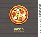 pizza top view vector... | Shutterstock .eps vector #741064501