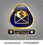 gold badge with envelope with... | Shutterstock .eps vector #741064849