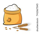 bag of flour with wheat spikes... | Shutterstock .eps vector #741067045