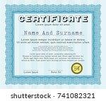 light blue sample diploma.... | Shutterstock .eps vector #741082321