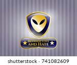 shiny emblem with alien icon... | Shutterstock .eps vector #741082609