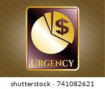 golden emblem with chart icon... | Shutterstock .eps vector #741082621