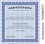 blue diploma or certificate... | Shutterstock .eps vector #741084517