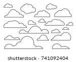 cloud vector icon set white... | Shutterstock .eps vector #741092404