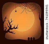 postcard on halloween template... | Shutterstock .eps vector #741095941