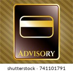 gold badge with credit card... | Shutterstock .eps vector #741101791