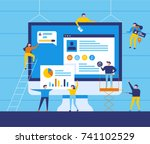 small people character decorated web business technology. vector concept illustration flat design | Shutterstock vector #741102529