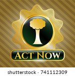 gold badge with tree icon and... | Shutterstock .eps vector #741112309