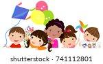 group of  kids peeping behind... | Shutterstock .eps vector #741112801