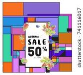 autumn sale memphis style web... | Shutterstock .eps vector #741116017