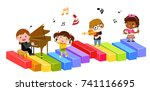 group of children and music | Shutterstock .eps vector #741116695