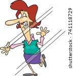 cartoon woman who has run into...   Shutterstock .eps vector #741118729