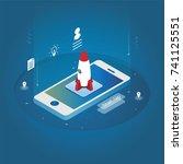 isometric technology rocket... | Shutterstock .eps vector #741125551