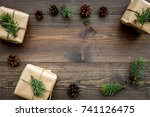 gifts for new year wrapped in... | Shutterstock . vector #741126475