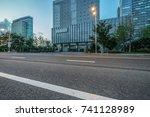 empty asphalt road front of... | Shutterstock . vector #741128989