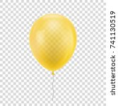yellow realistic balloon. blue... | Shutterstock .eps vector #741130519