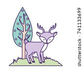 cute deer wild animal next to... | Shutterstock .eps vector #741133699