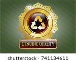 golden emblem or badge with... | Shutterstock .eps vector #741134611
