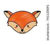 cute fox head wild animal   Shutterstock .eps vector #741135091