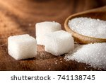 close up the sugar cubes and... | Shutterstock . vector #741138745