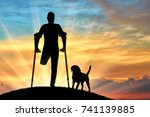 silhouette of a man with an... | Shutterstock . vector #741139885