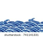 sea waves japanese style... | Shutterstock .eps vector #741141331