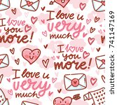 seamless love pattern with cute ...   Shutterstock .eps vector #741147169