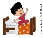 kid wake up in the morning...   Shutterstock .eps vector #741148861