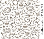 handmade jewelry elements and... | Shutterstock .eps vector #741149791