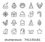 cute christmas icons | Shutterstock .eps vector #741150181