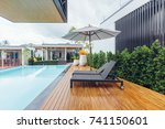 private swimming pool near... | Shutterstock . vector #741150601
