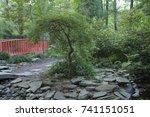 weeping willow at the bridge   Shutterstock . vector #741151051