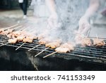 pork grill  mooping  is pork is ... | Shutterstock . vector #741153349