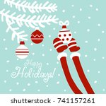 funny santa claus decorating... | Shutterstock .eps vector #741157261