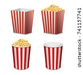 popcorn bucket isolated. full... | Shutterstock .eps vector #741157741