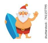 santa summer vacations ocean... | Shutterstock .eps vector #741157795