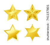 shiny bright five pointed stars ... | Shutterstock .eps vector #741157801