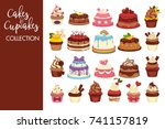 tasty cakes and cupcakes full... | Shutterstock .eps vector #741157819