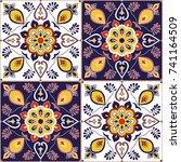 italian tile pattern vector...   Shutterstock .eps vector #741164509