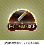 golden emblem or badge with... | Shutterstock .eps vector #741166801