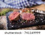 beef steak. roasted beef steak...   Shutterstock . vector #741169999