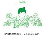 cute vector people outline ... | Shutterstock .eps vector #741170134