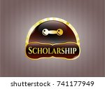 gold badge or emblem with... | Shutterstock .eps vector #741177949