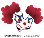cartoon creepy evil clown face... | Shutterstock .eps vector #741178249