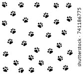 dog paw seamless.cat paw dog... | Shutterstock .eps vector #741186775