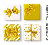set of decorative box with gold ... | Shutterstock .eps vector #741188881