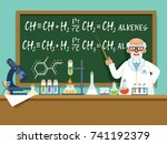 professor in his laboratory for ... | Shutterstock .eps vector #741192379