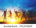 silhouette of happiness...   Shutterstock . vector #741192829