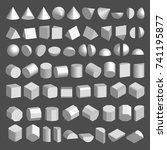 3d shapes set. three... | Shutterstock .eps vector #741195877